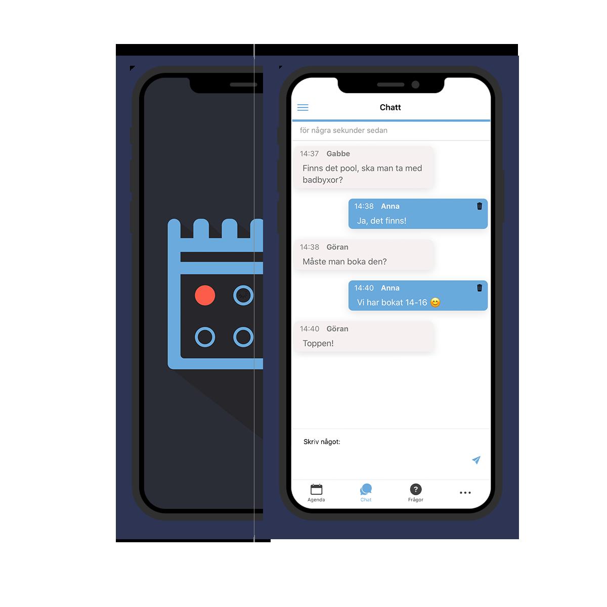 Agendan, en app med chattfunktion, schema, dokumentstöd, och underlättar er speciella tillställning.
